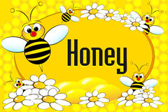Honey pot label or brochure. Honey label with bees, flowers and honeycomb. Brochure or business card useful Stock Photos