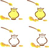 Honey pot and lemon clove Stock Image