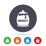 Honey in pot sign icon. Sweet natural food. Royalty Free Stock Photography