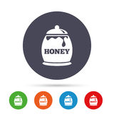Honey in pot sign icon. Sweet natural food. Royalty Free Stock Photos