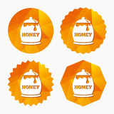 Honey in pot sign icon. Sweet natural food. Royalty Free Stock Photo