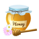 Honey pot and spoon. Colorful cartoon illustration of honey pot, honey spoon, organic nature product. Vector Stock Image