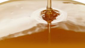 Honey Pouring Closeup. Closeup of honey pouring onto plain white surface - cookery concept stock video