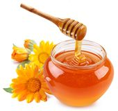 Honey pours with sticks in a jar. Stock Image