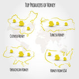 Honey producting countries Royalty Free Stock Photos