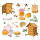Honey production, beekeeping or apiculture set - honeycomb, man-made beehives, wooden dipper, bees, teapot hand drawn in Royalty Free Stock Image