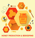 Honey production and beekeeping flat icons concept vector illustration