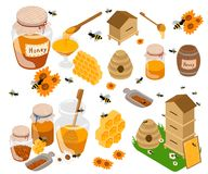 Honey products flat illustrations. Jars and other honey products on the table. Organic and natural. Banks, bees, honeycombs vector illustration