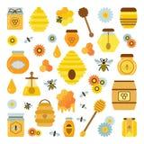Honey Products Icon Set organico Immagini Stock