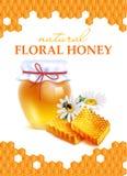 Honey Realistic Poster floral naturel Images libres de droits