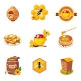 Honey And Related Food Label-Reeks Illustraties Vector Illustratie