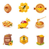 Honey And Related Food Label-Satz Illustrationen Stockfoto