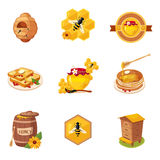 Honey And Related Food Label Set Of Illustrations. Honey And Related Food And Label Set Of Illustrations. Cute Colorful Honey Related Vector Stickers Isolated On Stock Images