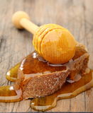Honey and rye bread. Stock Photos