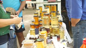 Honey for sale stock video footage