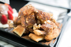 Honey Santos. Bread and chocolate ice cream Royalty Free Stock Image