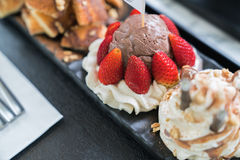 Honey Santos. Bread and chocolate ice cream Royalty Free Stock Photography