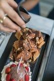 Honey Santos. Bread and chocolate ice cream Stock Photography