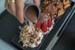 Honey Santos. Bread and chocolate ice cream Stock Photos