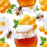 Honey seamless pattern vector illustration