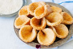Honey and sesame babouches - popular arabic dessert. Arabic and. Middle eastern food concept stock photo