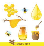 Honey set Vector. Honey and bee set Vector on white background Royalty Free Stock Photos
