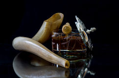 Honey and shofar for Rosh Hashanah (Jewish New Year) Royalty Free Stock Images