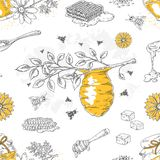 Honey sketch pattern. Hand drawn honeycomb and beehive seamless background with flowers and bees. Vector honey poster royalty free illustration