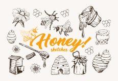 Honey Sketches Set, ruche d'abeille, Honey Jar, baril, administrent l'illustration à la cuillère tirée par la main de vecteur illustration stock