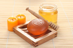 Honey soap Stock Images