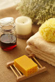 Honey soap in bathroom Royalty Free Stock Photos