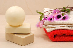 Honey soaps with candle in spa Royalty Free Stock Image