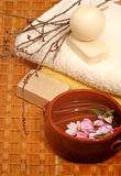 Honey soaps in spa. Bathroom with flowers (spa concept Stock Photos