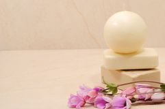 Honey soaps in spa bathroom. With the word Therapy (spa concept Royalty Free Stock Images