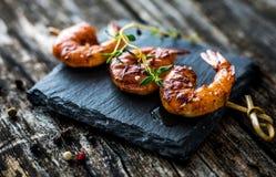 Honey Soy Shrimp grelhado fotografia de stock