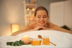 Honey for spa procedures and young woman Stock Photo