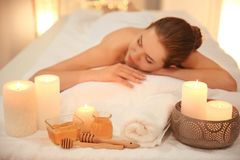 Honey for spa procedures and young woman Stock Photos