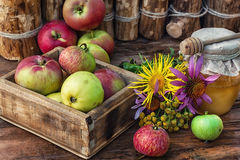 Honey Spas. Wooden box with the harvest of apples and honey for the holiday apple spas.Photo tinted Stock Photos