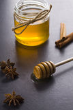 Honey and spices. Jar of honey with the scoop Royalty Free Stock Images