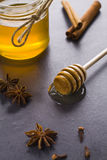 Honey and spices. Jar of honey with the scoop Stock Photography