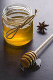 Honey and spices. Jar of honey with the scoop Royalty Free Stock Photography
