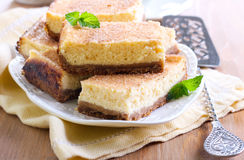 Honey and spicy cheesecake bars Stock Photography