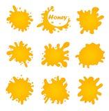 Honey splash set of labels. Splashes and drops collection. Vector illustration. Honey splash set of labels. Splashes and drops collection. Vector illustration royalty free illustration