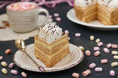 Honey sponge cake with butter cream located on a dark background stock images