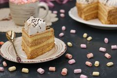 Honey sponge cake with butter cream located on a dark background stock photos