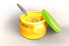 Honey and spoon. Full honey glass jar with metal spoon stock illustration