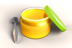 Honey and spoon. Full honey glass jar with metal spoon royalty free illustration