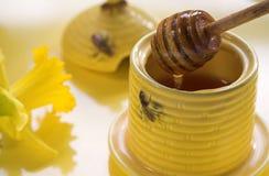 Honey and spoon Royalty Free Stock Photo