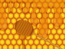 Honey. A spoonful of honey in the honeycomb background vector illustration