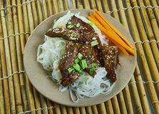 Honey Sriracha Mongolian Beef fotografía de archivo